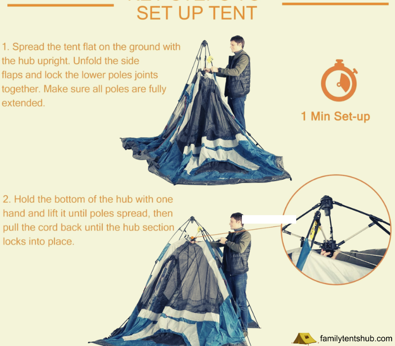 Mobihome 6 Person Tent Family Camping Quick Setup, Instant Extended Pop Up Dome Tents Outdoor
