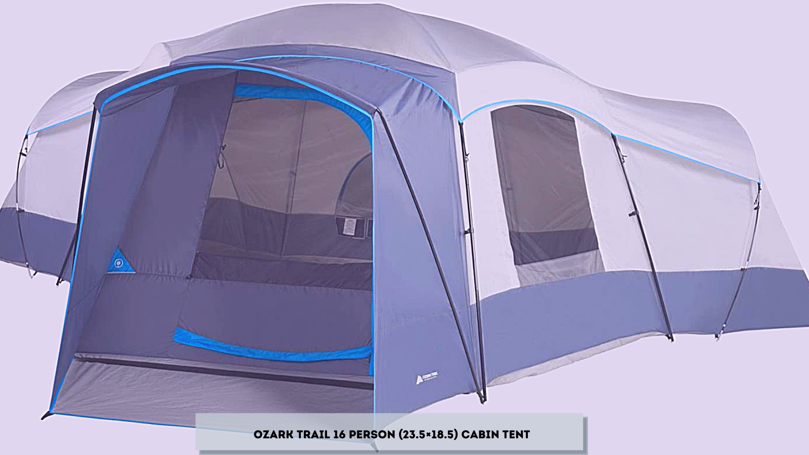 Spacious Family Sized 16-Person Weather Resistant Ozark Trail 23.5' x 18.5' Cabin Camping Tent, Gray and Blue