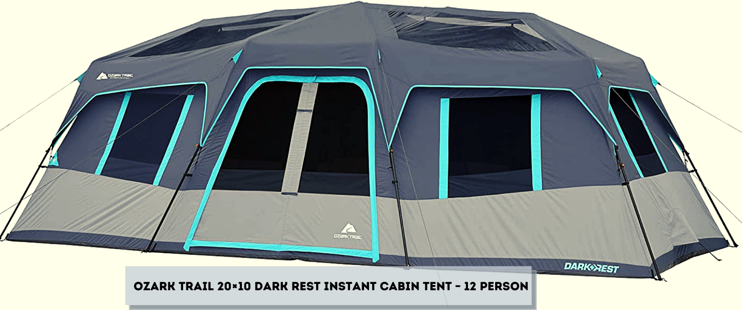 ozark trail 20×10 dark rest instant cabin tent – 12 person